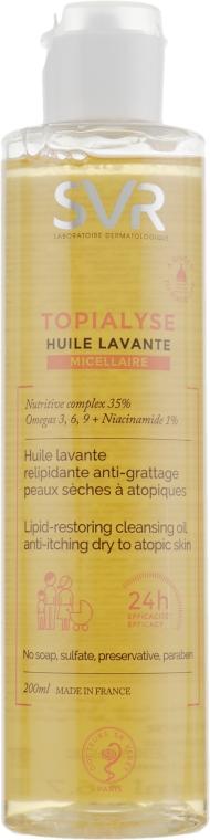Micelarny olejek odbudowujący barierę lipidową do mycia skóry suchej i atopowej - SVR Topialyse Huile Lavante Micellaire