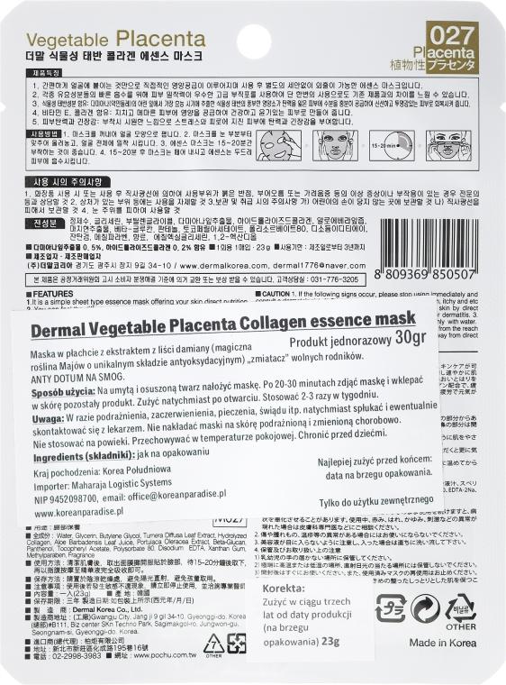Kolagenowa esencjonalna maseczka do twarzy Roślinna placenta - Dermal Vegetable Placenta Collagen Essence Mask — фото N2