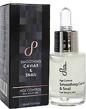 Kup PRZECENA! Naturalne odmładzające serum pod oczy Kawior i wyciąg ze śluzu ślimaka - Sayaz Cosmetics Age Control Smoothing Caviar & Snail Eye Serum 24H *