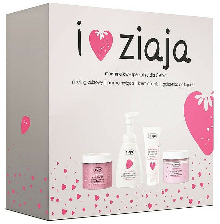 Zestaw - Ziaja I Love Ziaja Marshmallow (b/peeling/300ml + h/cr/50ml + shower/gel/260ml + b/foam/250ml)
