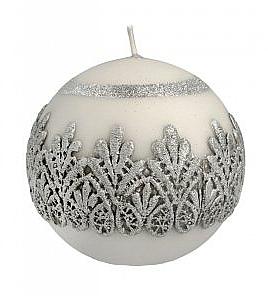 Świeca dekoracyjna, szara kula, 10 cm - Artman Koronka Lace Christmas — фото N1