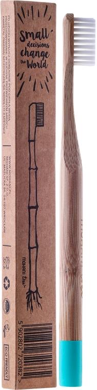 Bambusowa szczoteczka do zębów, miękka, błękitna - Mohani Toothbrush