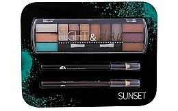 Kup Zestaw - Cosmetic 2K Night & Day Sunset (eye/sh/8,16g + eye/pen/2x0,6g)