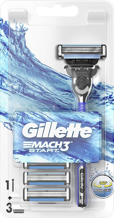 Maszynka do golenia z trzema wymiennymi wkładami - Gillette Mach 3 Turbo Start
