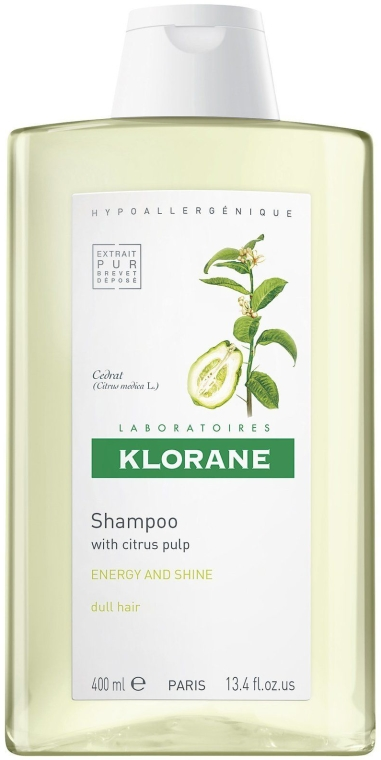 Energetyzujący szampon nadający włosom blask z miąższem cytrusowym - Klorane Shampoo With Citrus Pulp Energy And Shine — фото N1