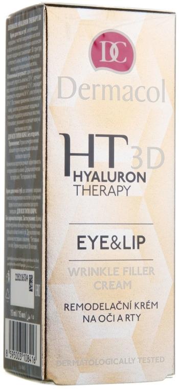 Krem z kwasem hialuronowym modelujący okolice oczu i ust - Dermacol Hyaluron Therapy 3D Eye and Lip Wrinkle Filler Cream