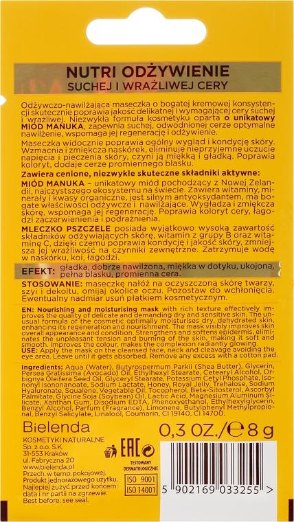 Odżywczo-nawilżająca maseczka do twarzy Miód Manuka i mleczko pszczele - Bielenda Manuka Honey Nutri Elixir Mask — фото N2