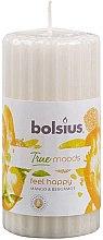 Kup Pieńkowa świeca zapachowa Mango i bergamotka, 120/58 mm - Bolsius True Moods Feel Happy Candle