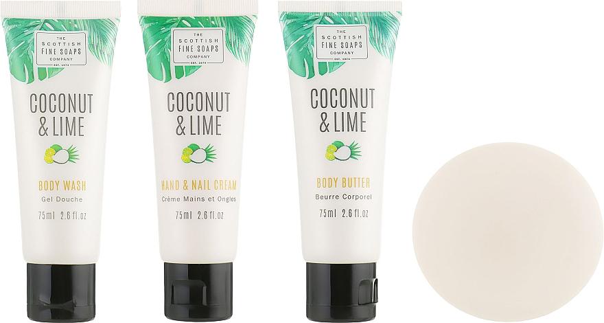 Zestaw - Scottish Fine Soaps Coconut & Lime (sh/gel/75ml + b/oil/75ml + h/cr/75ml + soap/40g) — фото N2