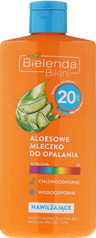 Aloesowe mleczko do opalania SPF 20 - Bielenda Bikini — фото N1