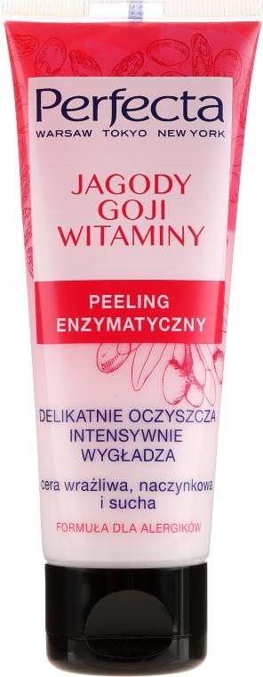 Peeling enzymatyczny do cery wrażliwej, naczynkowej i suchej Jagody goji i witaminy - Perfecta