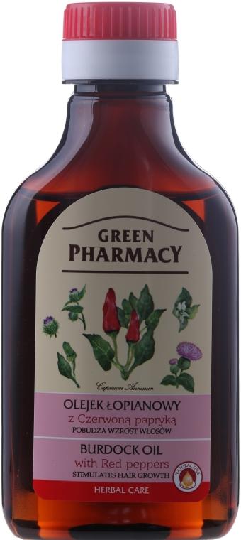 Olejek łopianowy z czerwoną papryką pobudzający wzrost włosów - Green Pharmacy Hair Care Burdock Oil With Red Peppers