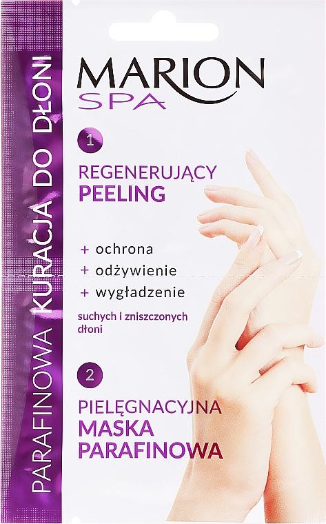 Parafinowa kuracja do dłoni Regenerujący peeling + maska parafinowa - Marion Spa