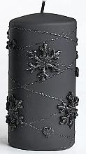 Kup Świeca dekoracyjna, czarna, 7x10 cm - Artman Snowflakes Application