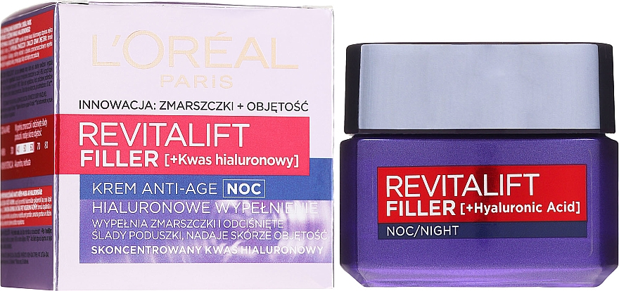 Przeciwstarzeniowy krem na noc Hialuronowe wypełnienie - L'Oreal Paris Revitalift Filler Hyaluronic Acid Night Cream