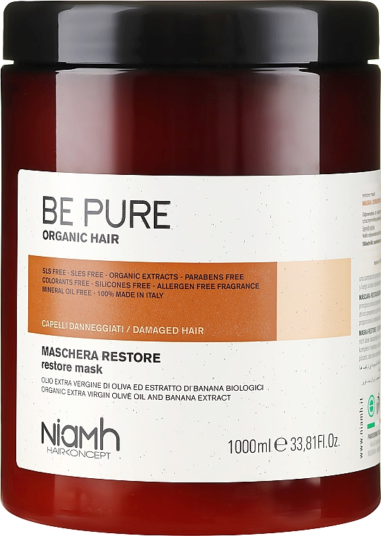 Regenerująca maska do włosów zniszczonych - Niamh Hairconcept Be Pure Restore Mask — фото N3