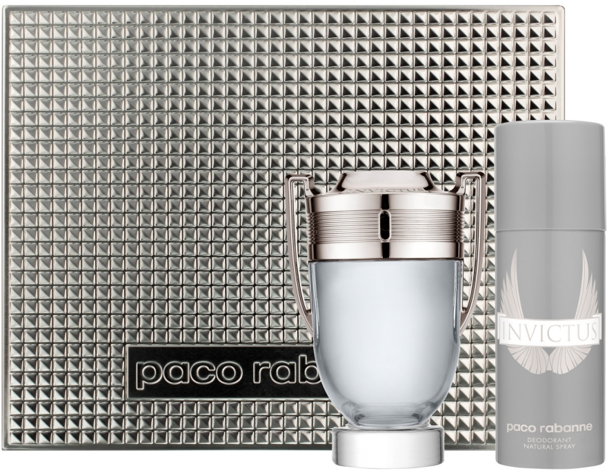 Paco Rabanne Invictus - Zestaw (edt 100 ml + deo/spr 150 ml) — фото N1