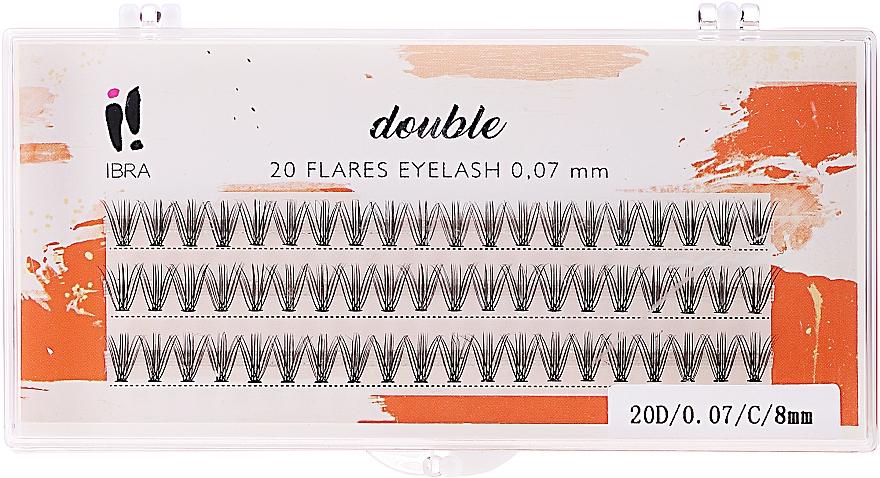 Kępki rzęs - Ibra 20 Flares Eyelash Knot-Free Naturals C 8 mm