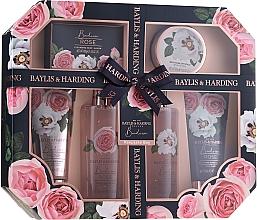 Zestaw - Baylis & Harding Boudoire Rose Set (sh/gel/130ml + sh/gel/300ml + lot/130ml + crystals/100g + bath/f/300ml + soap/100g) — фото N1