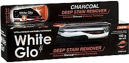 Kup Zestaw: pasta do zębów z węglem aktywnym + czarna szczoteczka - White Glo Charcoal Deep Stain Remover Toothpaste (t/paste 100 ml + t/brush)