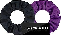 Kup Zestaw dzianinowych gumek do włosów Black & Violet - Makeup