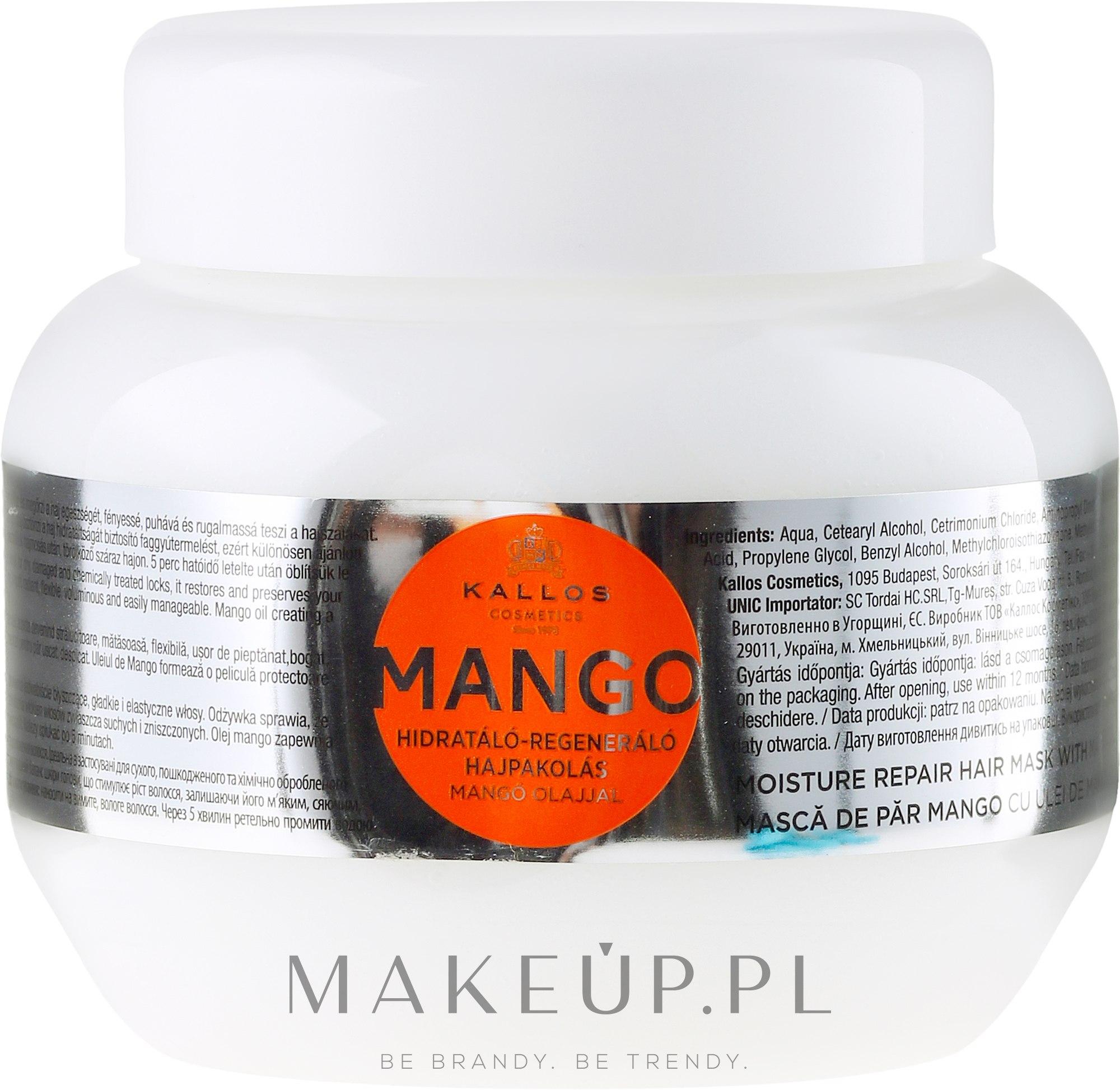 Nawilżająca maska naprawcza do włosów z olejem z mango - Kallos Cosmetics Mango Hair Mask — фото 275 ml
