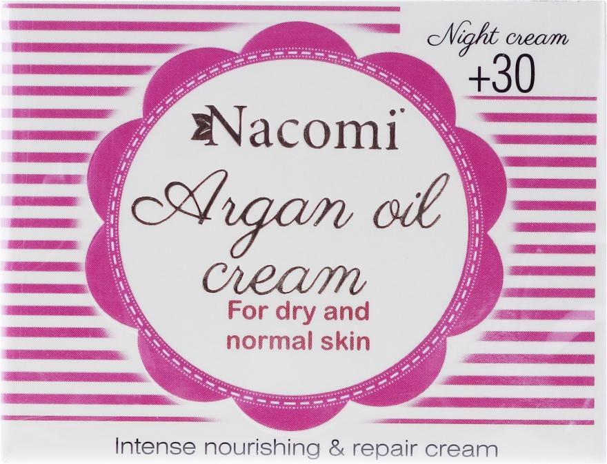 Arganowy krem z kwasem hialuronowym do twarzy na noc 30+ - Nacomi