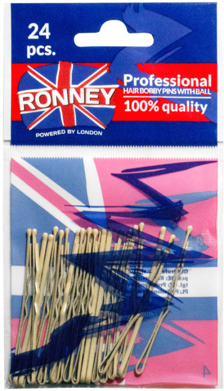 Faliste wsuwki, kremowe 60 mm, 24 szt. - Ronney Professional Cream Hair Bobby Pins