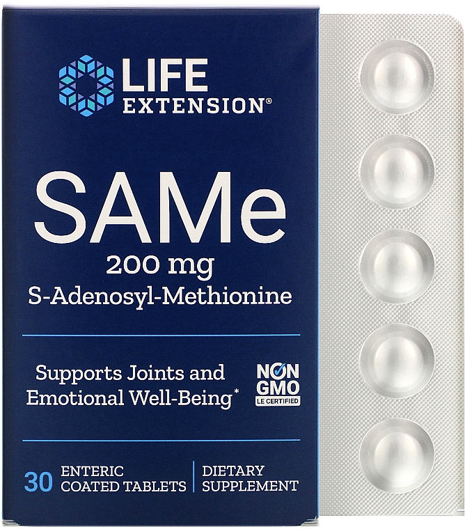 Suplement diety SAMe, 200 mg - Life Extension SAMe — фото N1