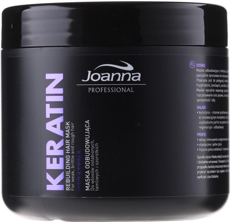 Odbudowująca maska do włosów osłabionych, łamliwych i szorstkich Keratyna - Joanna Professional