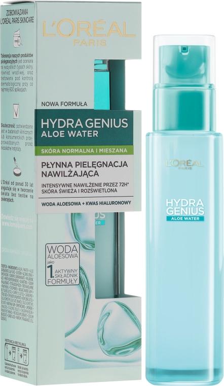 Płynna pielęgnacja nawilżająca do skóry normalnej i mieszanej - L'Oreal Paris Hydra Genius Aloe Water