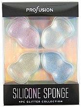 Kup Zestaw silikonowych gąbek do makijażu - Profusion Cosmetics Glitter Silicone Sponge