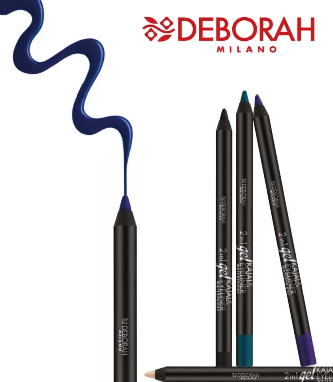 Wodoodporny eyeliner i kredka 2 w 1 - Deborah 2 in 1 Gel Kajal & Eyeliner Waterproof — фото N2