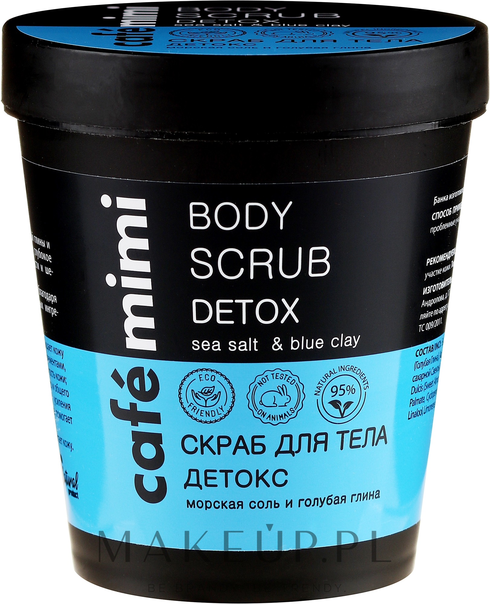 Peeling do ciała Sól morska i niebieska glinka - Cafe Mimi Body Scrub Detox — фото 330 g