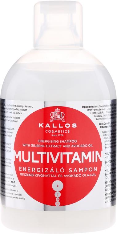Szampon z ekstraktem z żeń-szenia i olejem z awokado - Kallos Cosmetics Multivitamin Energising Shampoo