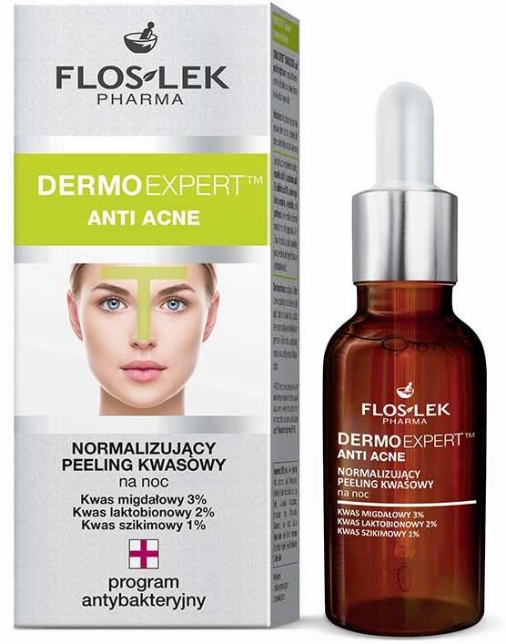 Peeling kwasowy normalizujący na noc - Floslek Dermo Expert Anti Acne Peeling