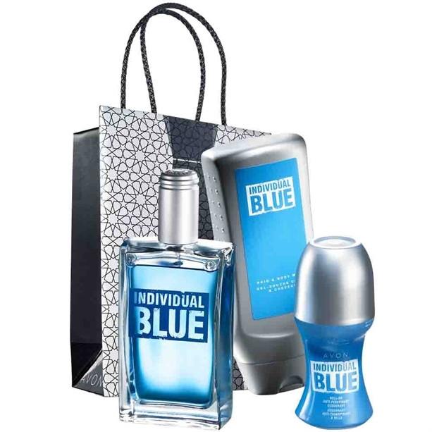 Avon Individual Blue - Zestaw (edt/100ml + sh/gel/250ml + deo/50ml + bag) — фото N1