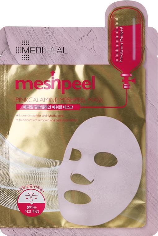Maska do twarzy w płacie z pudrem kalaminowym - Mediheal Meshpeel Mask Pink Calamine