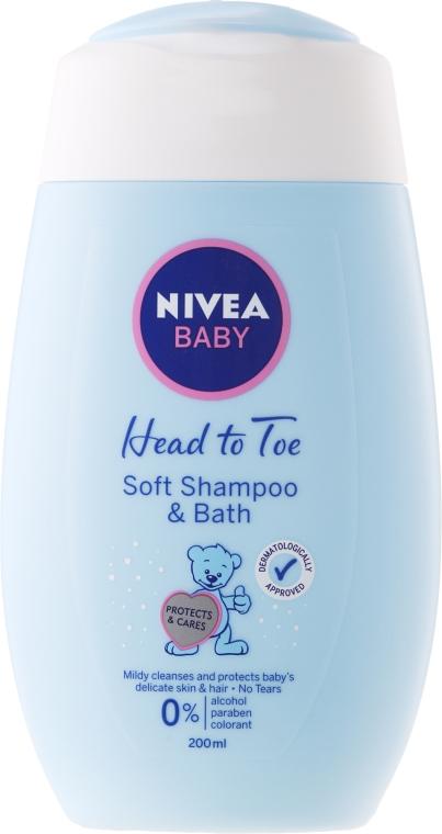 Łagodny szampon i płyn do kąpieli 2 w 1 dla dzieci i niemowląt - Nivea Baby Soft Shampoo & Bath
