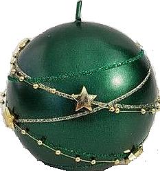 Świeca dekoracyjna, kula, zielona 10 cm - Artman Christmas Garland — фото N1