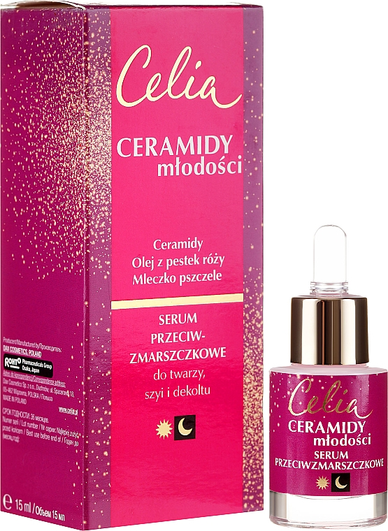 Serum przeciw zmarszczkom na twarz, szyję i dekolt - Celia Ceramidy Serum