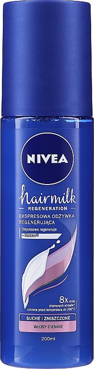 Ekspresowa odżywka regenerująca do włosów suchych i zniszczonych o cienkiej strukturze - Nivea Hairmilk