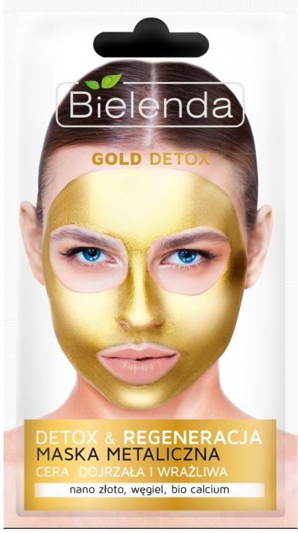Metaliczna maska do cery dojrzałej i wrażliwej Detoks i regeneracja - Bielenda Gold Detox Metallic Mask — фото N1