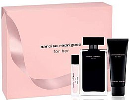 Narciso Rodriguez For Her - Zestaw (edt/100ml + edt/10ml + b/lot/75ml) — фото N1