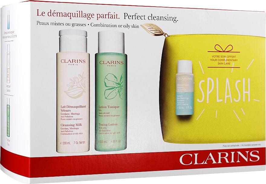 Zestaw - Clarins Perfect Cleansing Splash Set Oily Skin (milk 200 ml + lotion 200 ml + makeup/remov 30 ml + bag) — фото N1