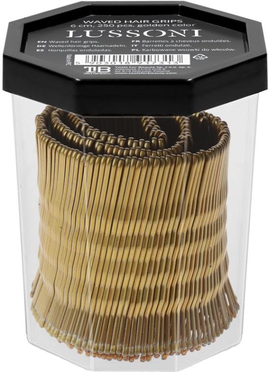 Wsuwki, 6 cm, złote - Lussoni Waved Hair Grips 6 cm Golden — фото N2