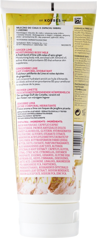 Mleczko do ciała Imbir i limonka - Korres Ginger Lime Body Milk  — фото N2