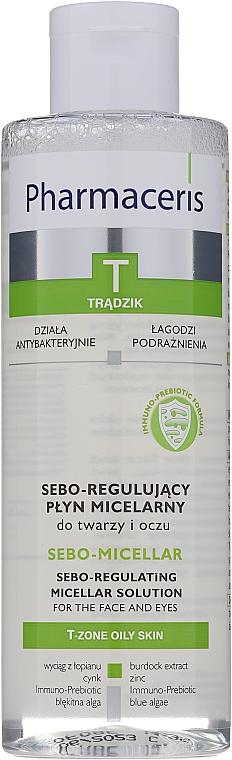 Antybakteryjny płyn micelarny do oczyszczania i demakijażu twarzy i oczu - Pharmaceris T Sebo-Micellar Solution Cleansing Make-Up Removal — фото N1