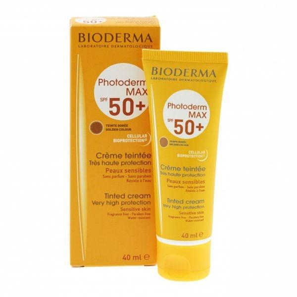 Tonujący krem do skóry suchej i normalnej SPF 50+ - Bioderma Photoderm Max Tinted Cream Golden Color — фото N1