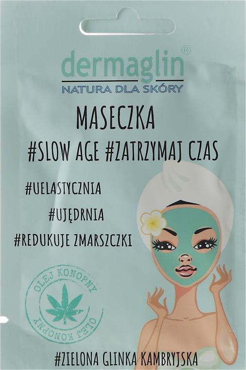 Ujędrniająca maseczka do twarzy z zieloną glinką kambryjską - Dermaglin #Slow Age #Zatrzymaj czas